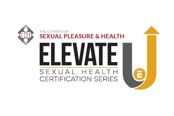 Sex ed classes, Elevate U logo white background black yellow and grey font,, and the CSPH logo