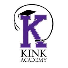 Sexed classes, kink academy logo, lettter K in purple, white background, black font