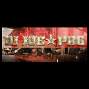 DJ Joe Pro, background black and red, gold font.