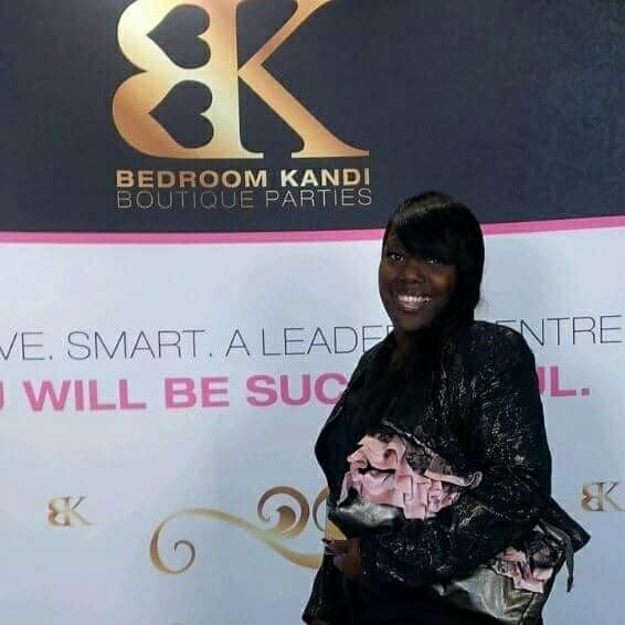 Public service announcement, Bedroom Kandi 2013 Convention, Shelly Land in front of a BK backdrop, Photographer Leon Millette, Bedroom Kandi by Shell'z,