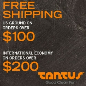 Tantus, Inc, brown background with orange font.