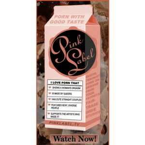 Pink and White Productions logo on a pink milk carton.