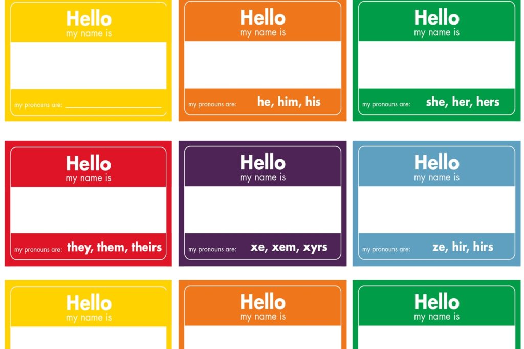 Gender Pronouns, image of gender pronouns name tags in rainbow colors