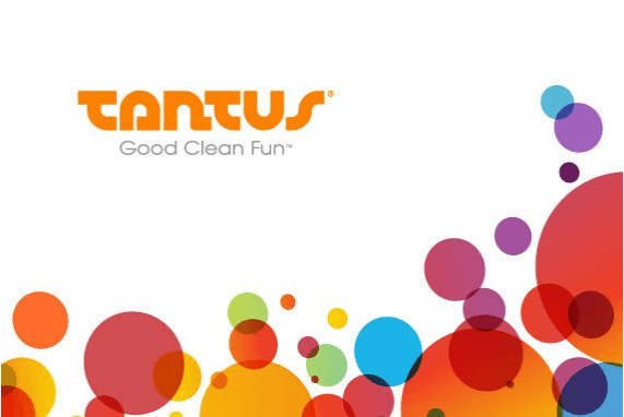 Tantus, Inc: The Original 100% Silicone Toys, Tantus Inc logo white background, colorful circles on right side.