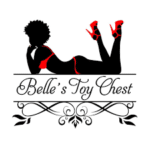 Highlights So Far: Sex Ed Is Fun,Belle's Toy Chest, white background, image character black with red stilettos and red bathing suit, black font, logo