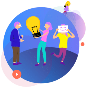 Birth Control and Technology: Besider, image drawn with purple sky and blue ground, a character holding a light bulb, one with a sheet of white paper with a smiley face on it covering their face with it, and a character with a blue shirt and brown pants.