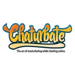 Chaturbate logo, white background, orange and blue font.