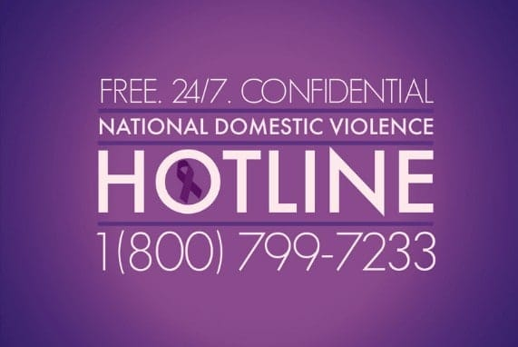 Domestic Violence Awareness Month info and phone number 18007997233, background purple, dark purple and white fonts.