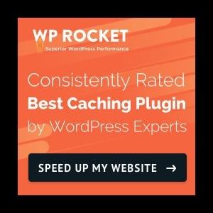 Blog Resources, WP Rocket logo, black outline and orange, white and black font.