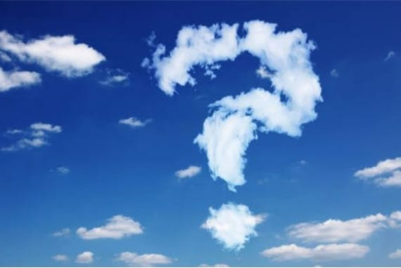 Comments, blue sky clouds form question mark