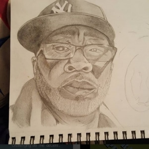 Artist drawwing male with hat and glasses