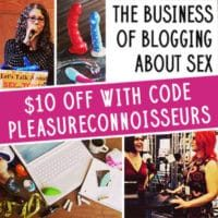 Pleasure Connoisseurs Be A Sex Blogger coupon, image of Epiphora and JoEllen Notte, hot pink and white banner in the middle.
